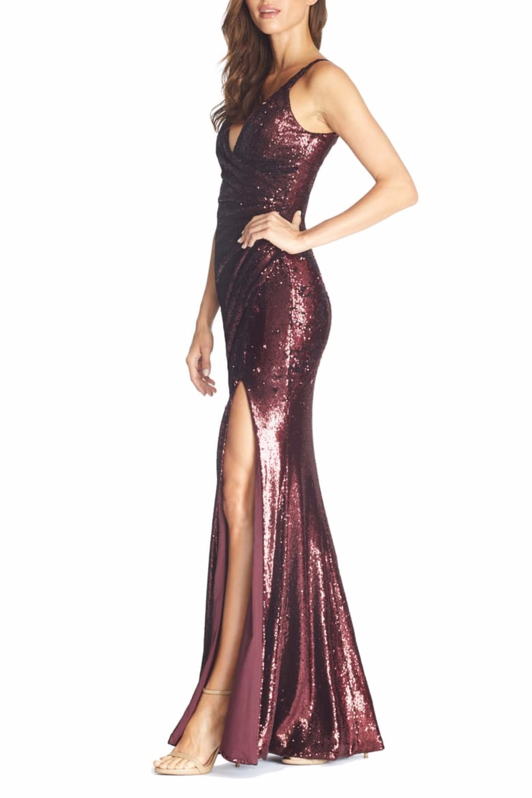 Dress the Population Ruched Sequin Mermaid Dress - Front Full Image