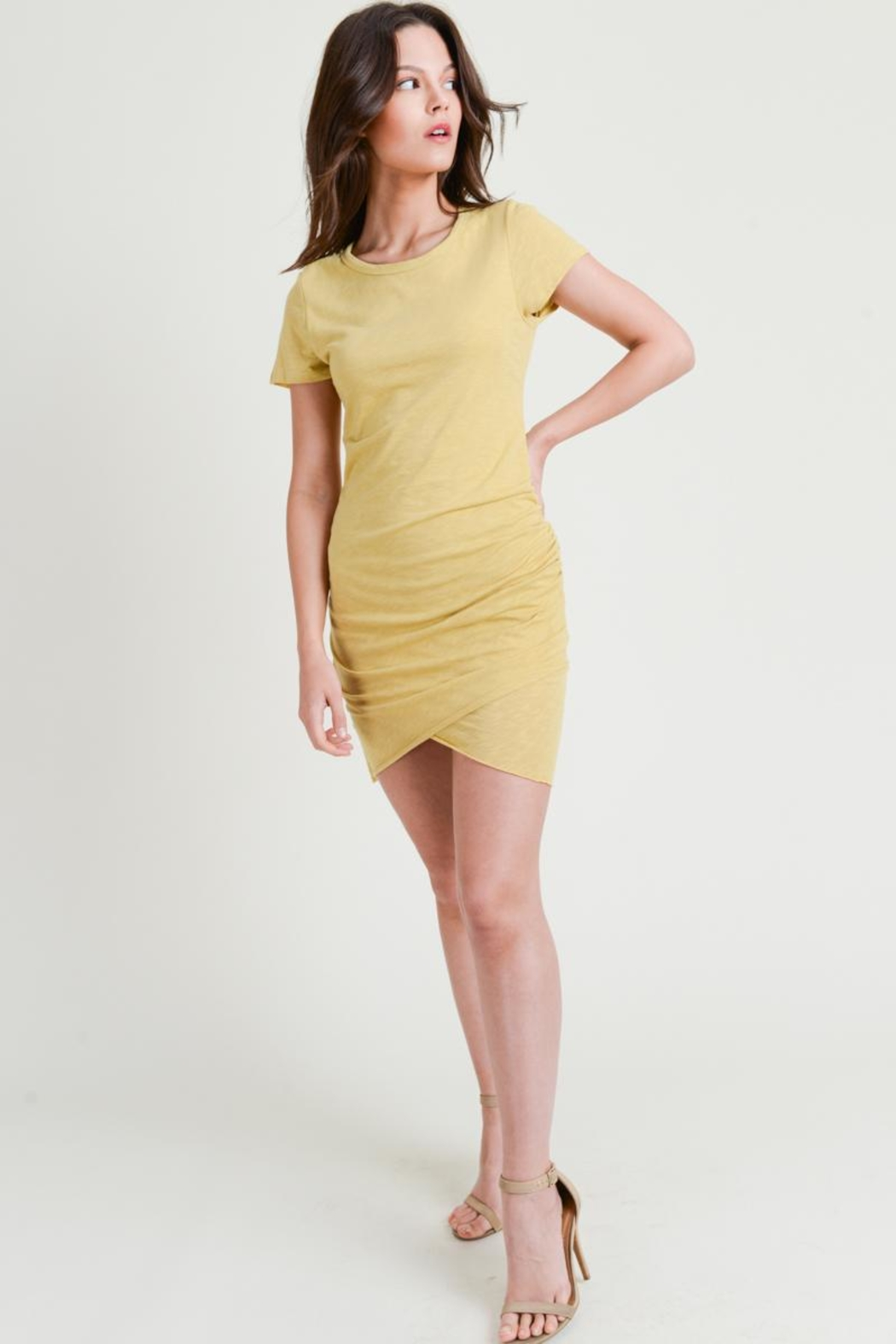 Wasabi + Mint Ruched Shirt Dress - Front Cropped Image