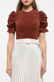 Moon River Ruched short sleeves top - Front cropped