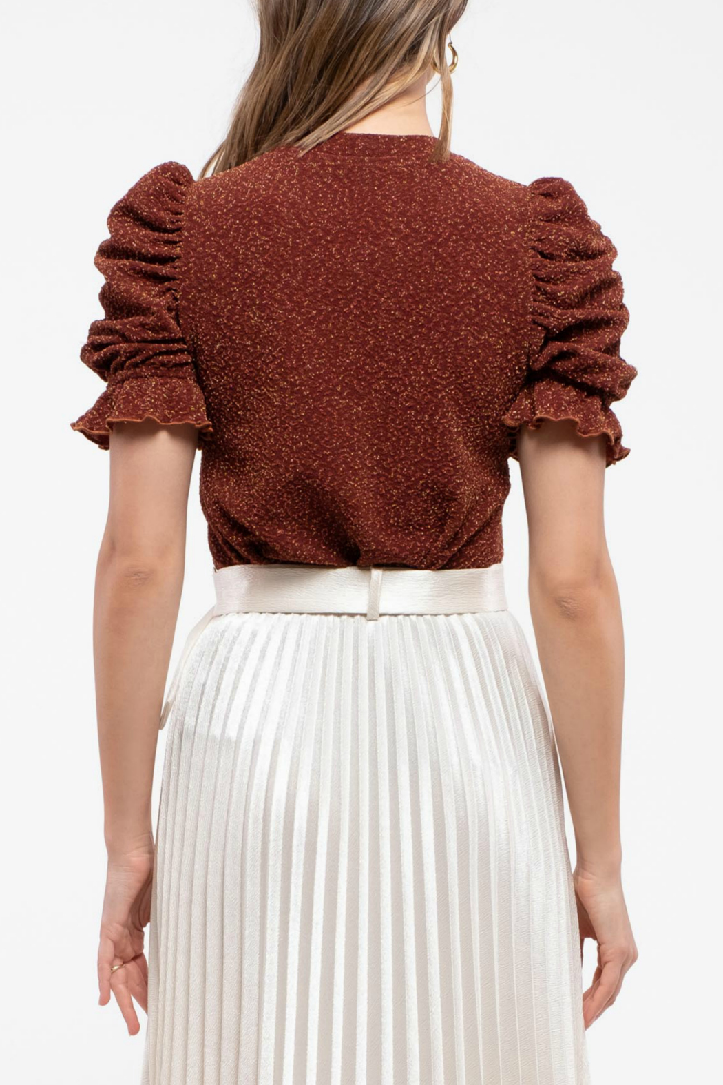Moon River Ruched short sleeves top - Front Full Image