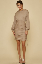 blue blush Ruched Side Hoodie Dress - Product Mini Image
