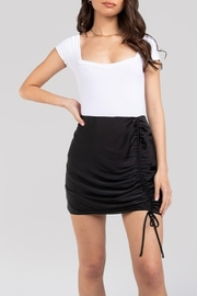 Naked Zebra  Ruched Side Mini Skirt - Front cropped