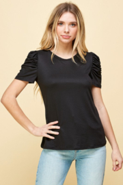 Les Amis Ruched Sleeve Detail Top - Product Mini Image