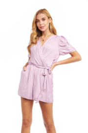 Naked Zebra Ruched Sleeve Romper - Front cropped