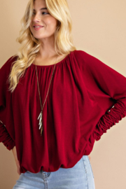143 Story Ruched Sleeve Thermal Top - Product Mini Image