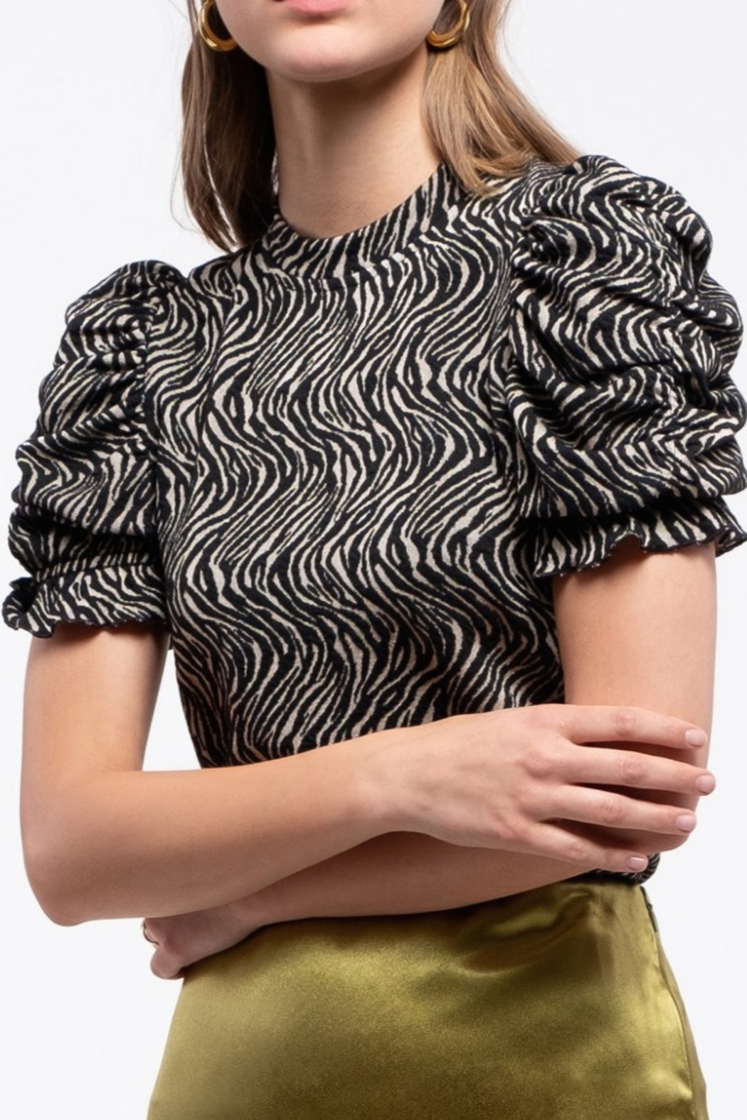 Moon River Ruched Sleeve Top - Main Image