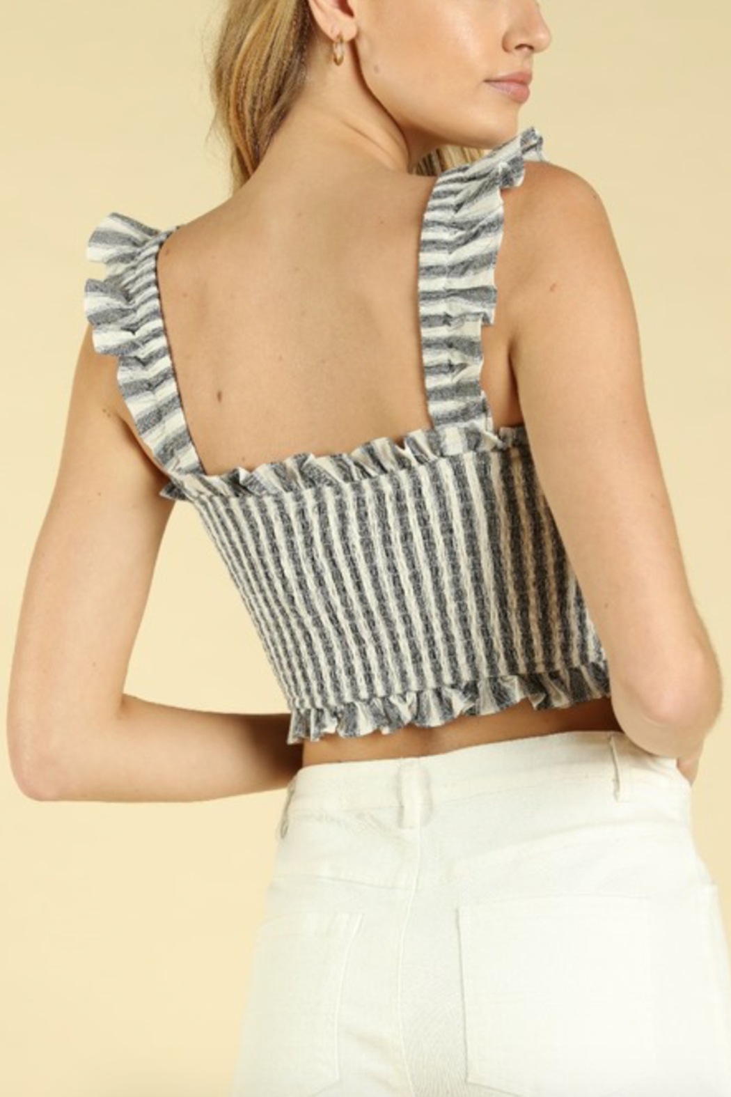 Honey Punch Ruched Smocked Crop Top - Side Cropped Image