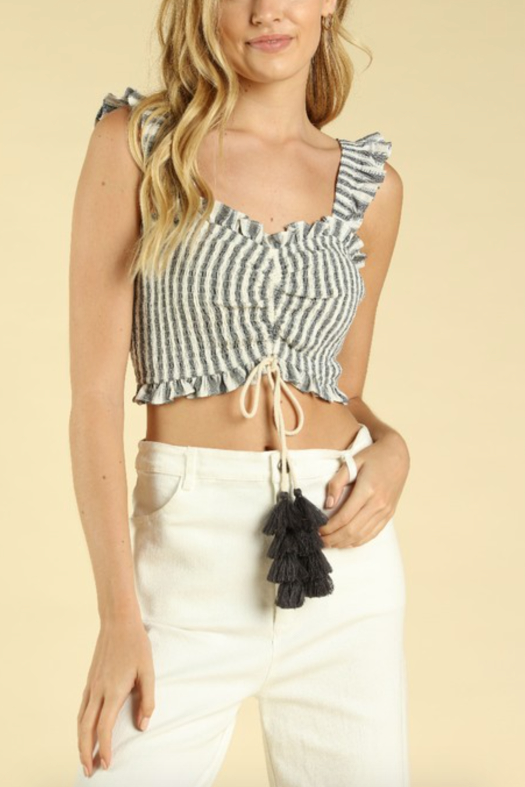 Honey Punch Ruched Smocked Crop Top - Main Image
