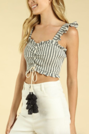 Honey Punch Ruched Smocked Crop Top - Front full body