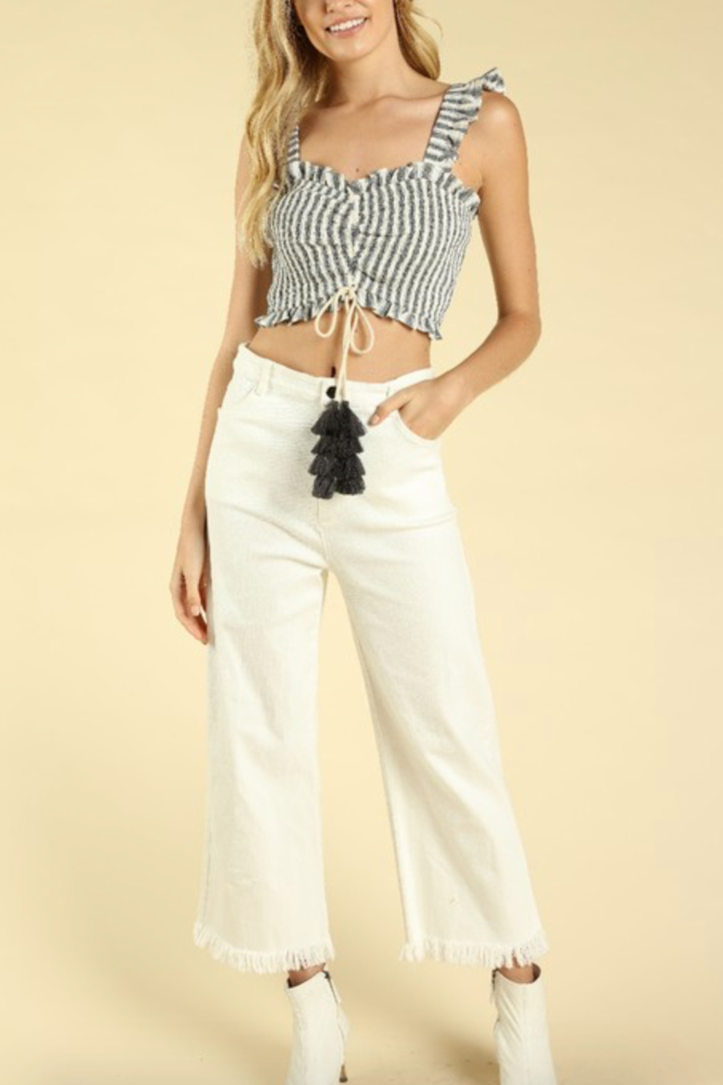 Honey Punch Ruched Smocked Crop Top - Back Cropped Image
