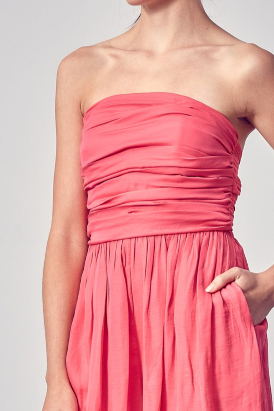 Do + Be  Ruched Top Romper - Back Cropped Image