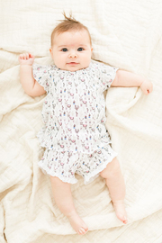 Feather Baby Ruched Tunic + Short ~ Llamas on White - Front cropped