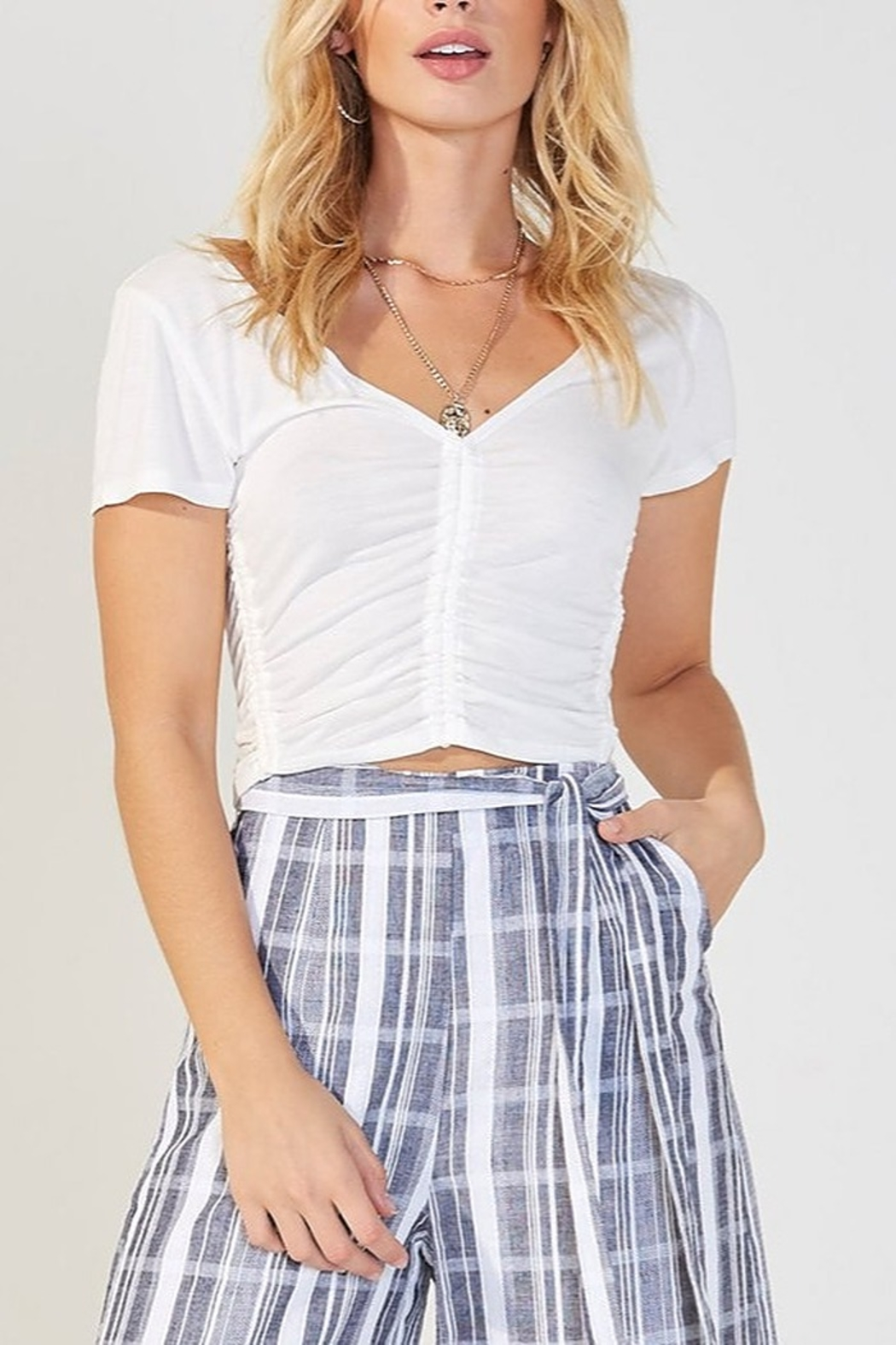 MINKPINK Ruched White Tee - Main Image