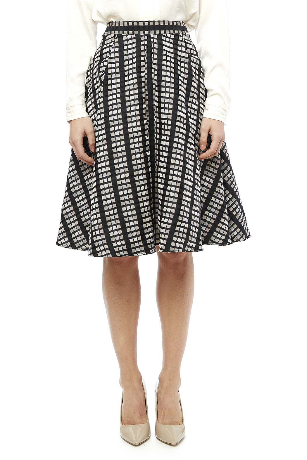 Rue De La Baile Geo Checkered Skirt - Main Image
