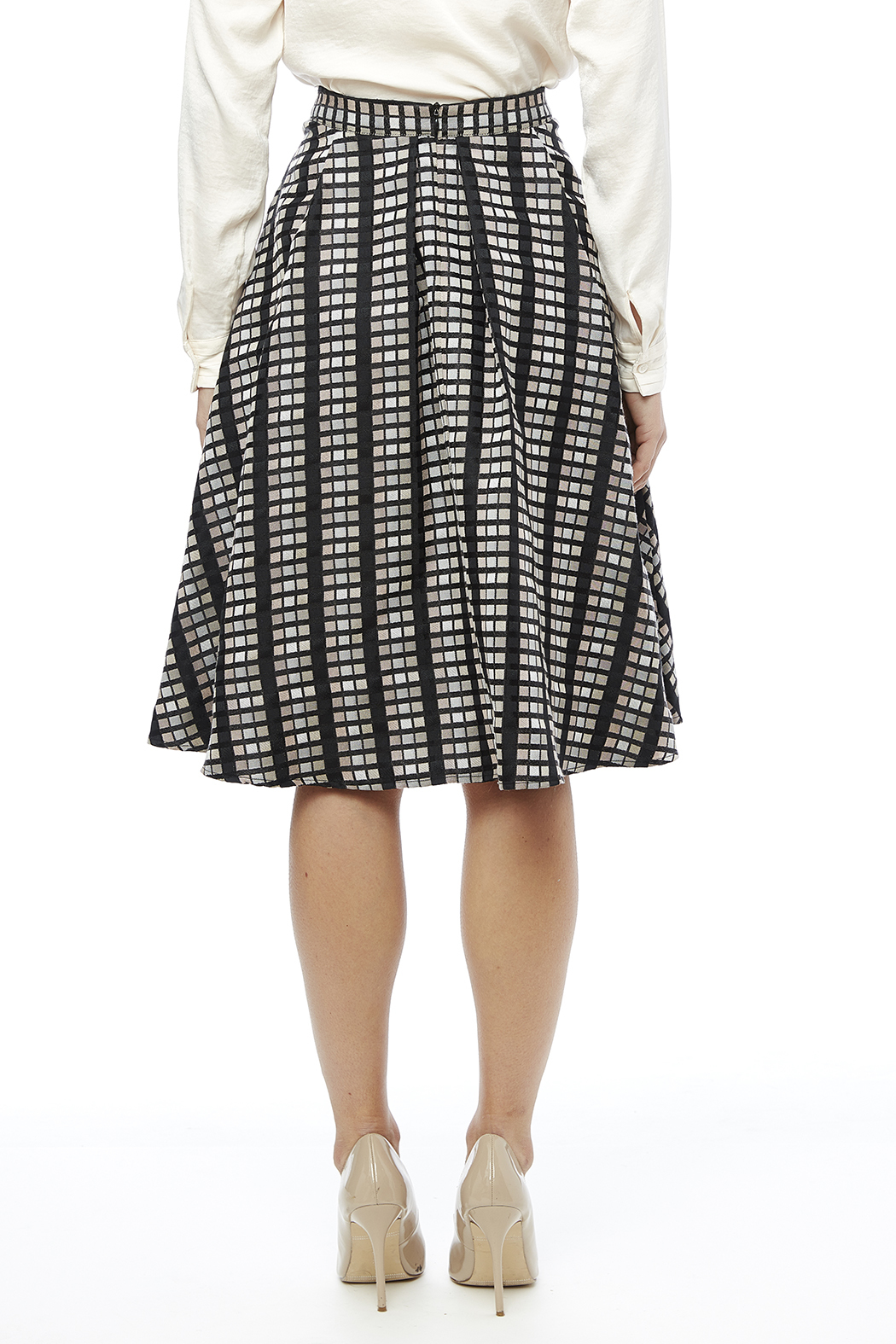 Rue De La Baile Geo Checkered Skirt - Back Cropped Image