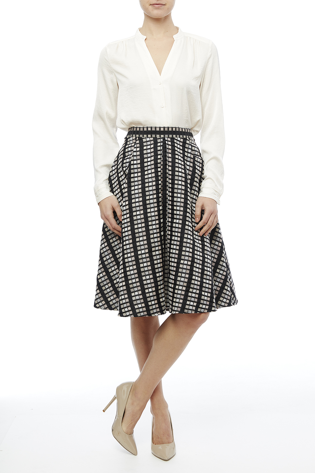 Rue De La Baile Geo Checkered Skirt - Front Full Image