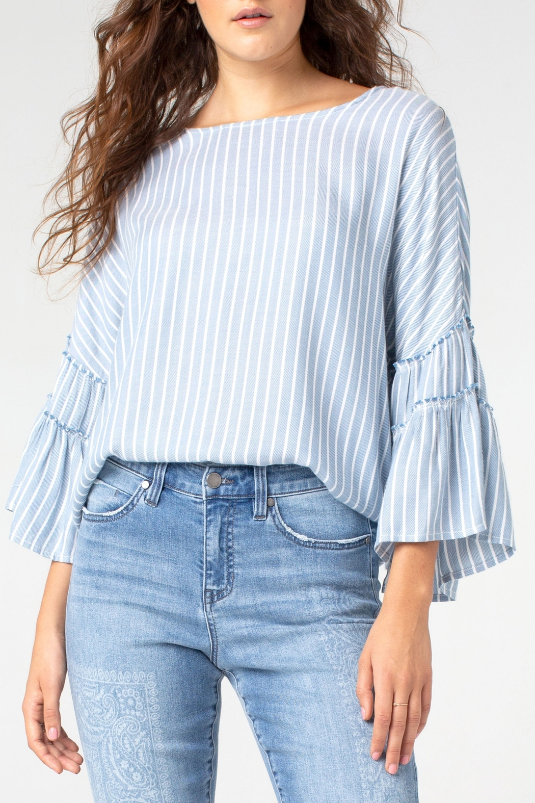Liverpool Ruffle Bell Sleeve Popover - Main Image