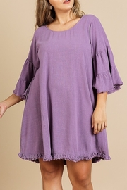 Umgee  Ruffle Bell Sleeve Round Neck Dress with Frayed Ruffle Hem - Product Mini Image