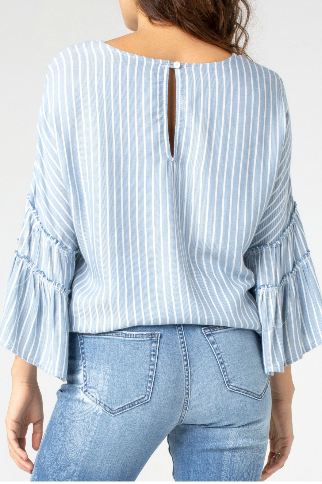 Liverpool Ruffle bell sleeve top - Side Cropped Image