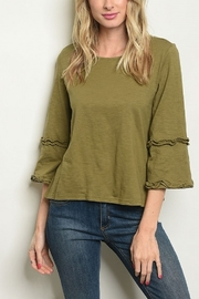 Lyn -Maree's Ruffle Bell Sleeve Top - Front cropped