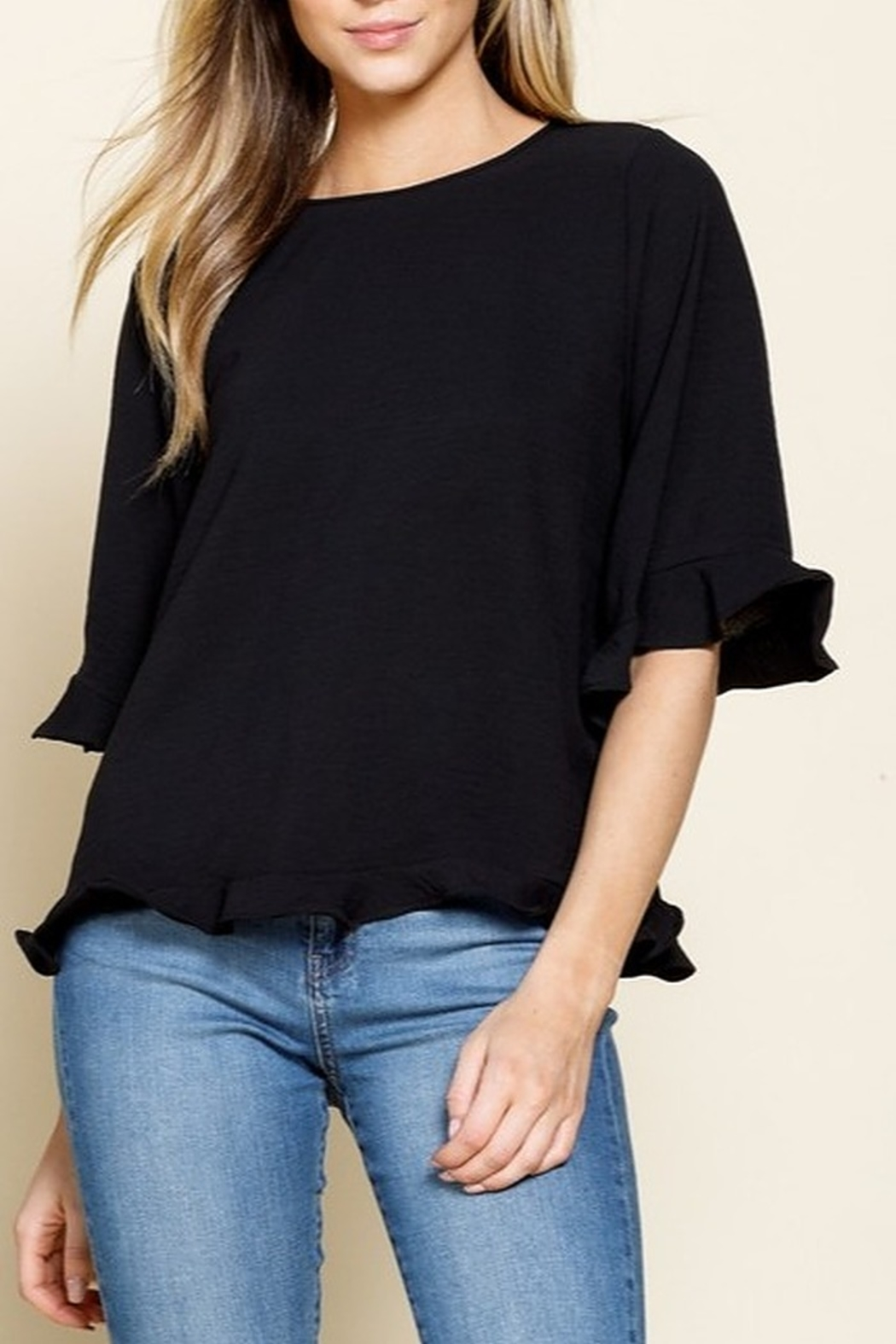 Mittoshop RUFFLE BELL SLEEVE WOVEN TOP - Main Image