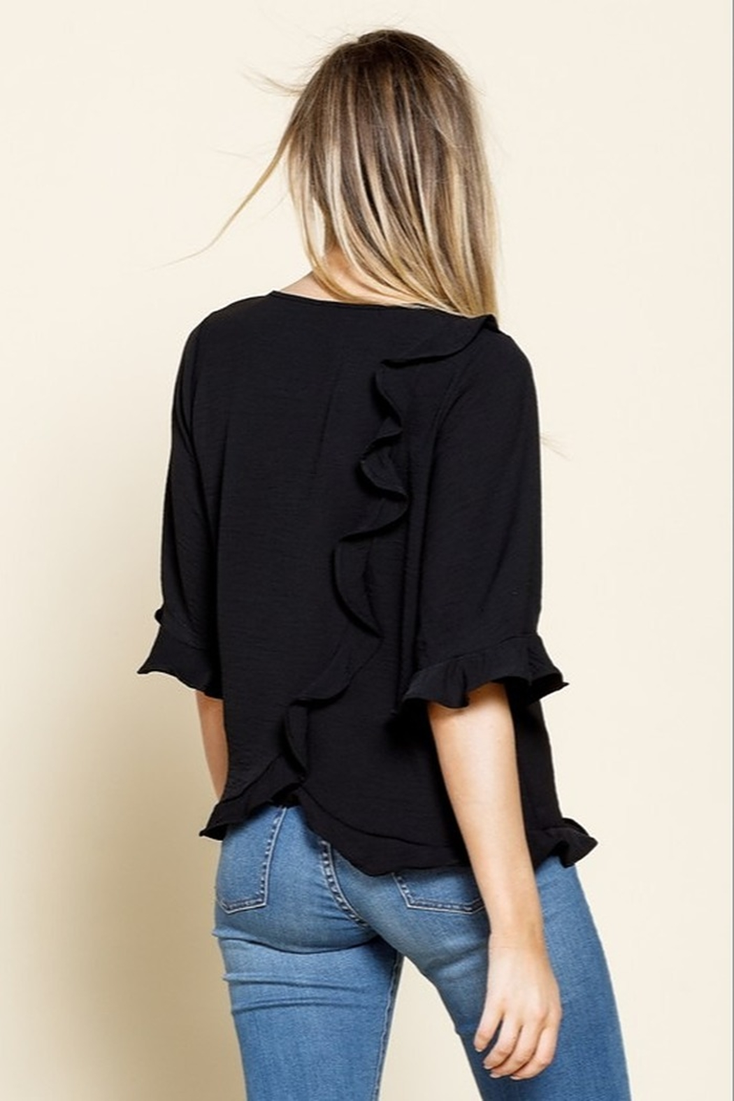 Mittoshop RUFFLE BELL SLEEVE WOVEN TOP - Front Full Image
