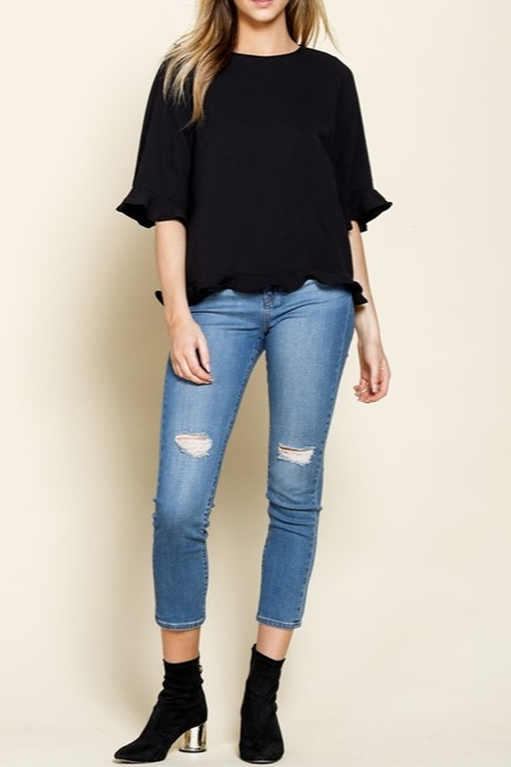 Mittoshop RUFFLE BELL SLEEVE WOVEN TOP - Side Cropped Image