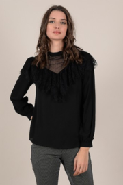 Molly Bracken Ruffle Blouse with Sheer Accents - Product Mini Image