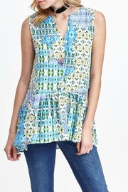 Mary and Mabel Ruffle Bottom Green and Blue Print Top - Product Mini Image