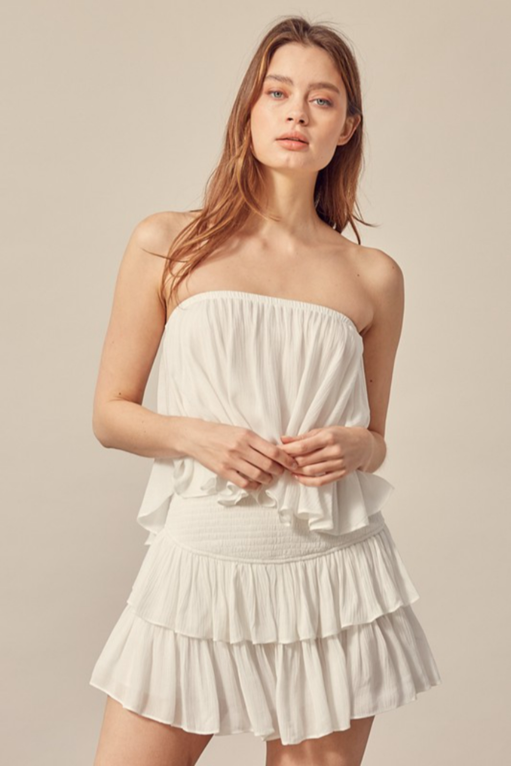 Mustard Seed  Ruffle Bottom Romper - Front Cropped Image
