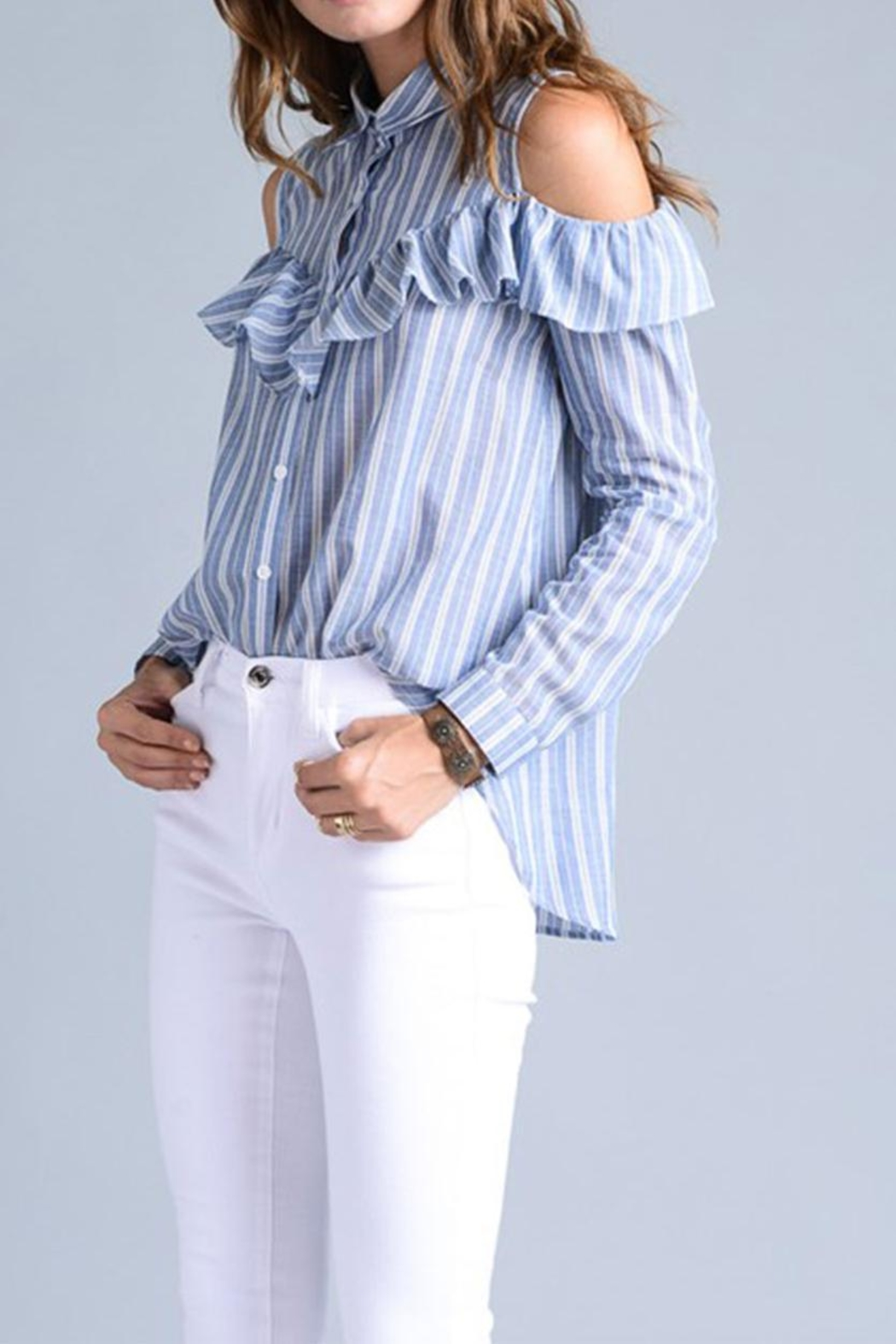 Potter's Pot Ruffle Button Down - Front Full Image