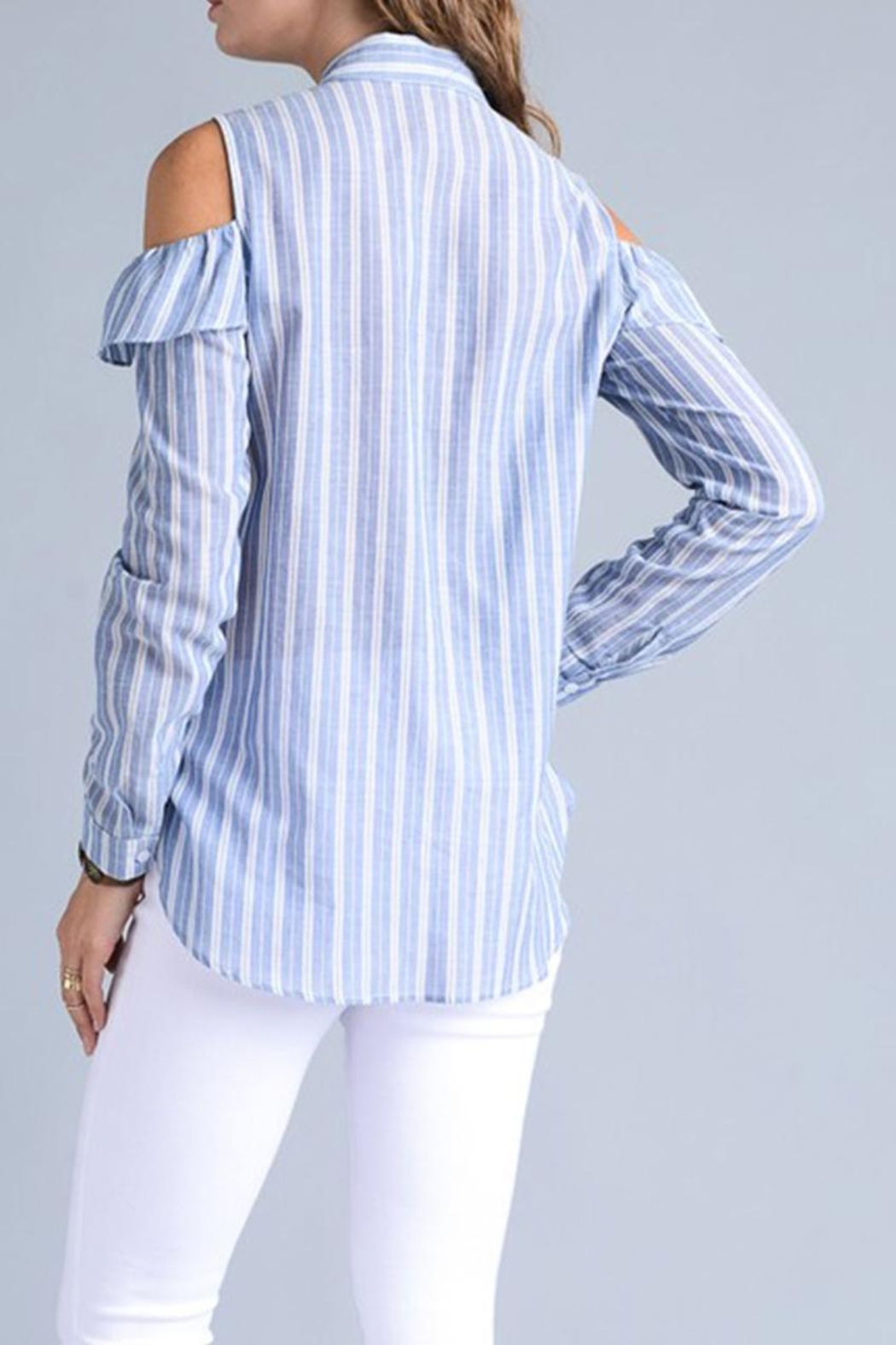 Potter's Pot Ruffle Button Down - Side Cropped Image