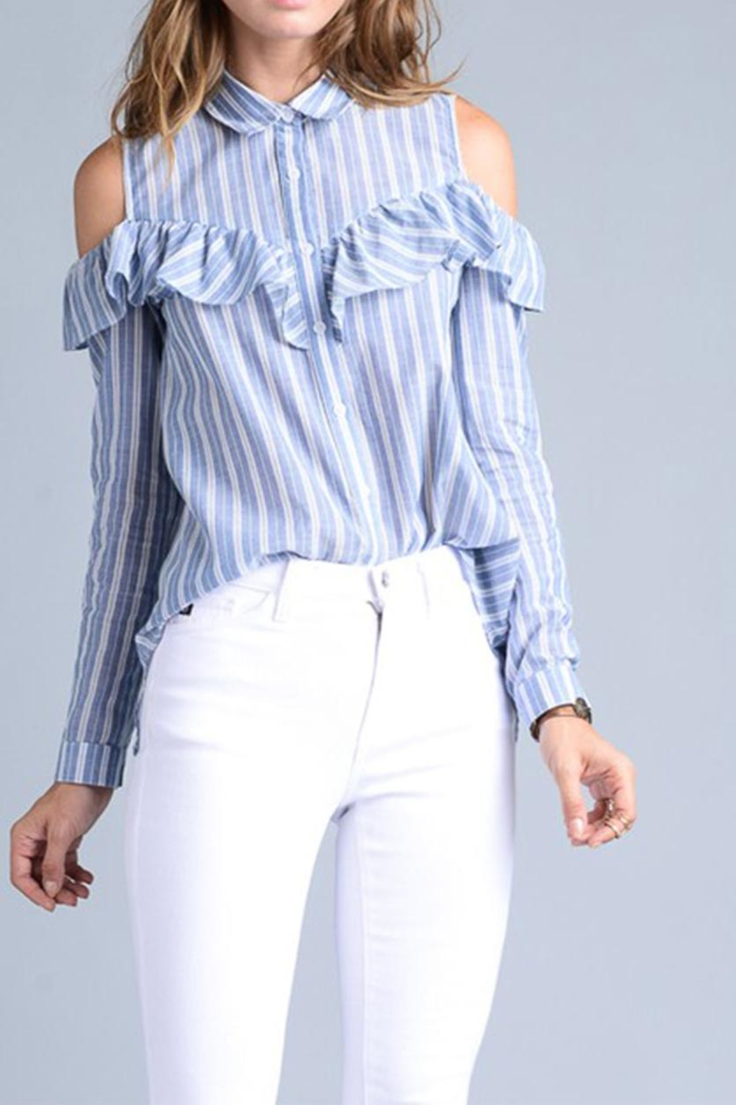 Potter's Pot Ruffle Button Down - Front Cropped Image