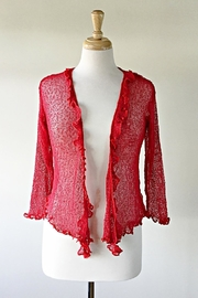 Scarborough Fair Red Ruffle Cardigan - Front cropped