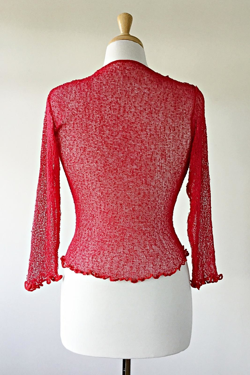 Scarborough Fair Red Ruffle Cardigan - Side Cropped Image