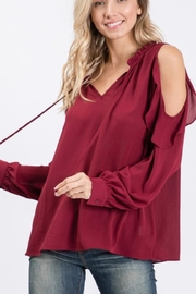 eesome RUFFLE COLD SHOULDER LONG SLEEVE BLOUSE TOP - Product Mini Image