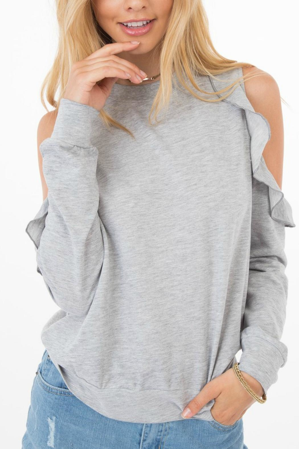 ALB Anchorage Ruffle Cold-Shoulder Sweater - Main Image
