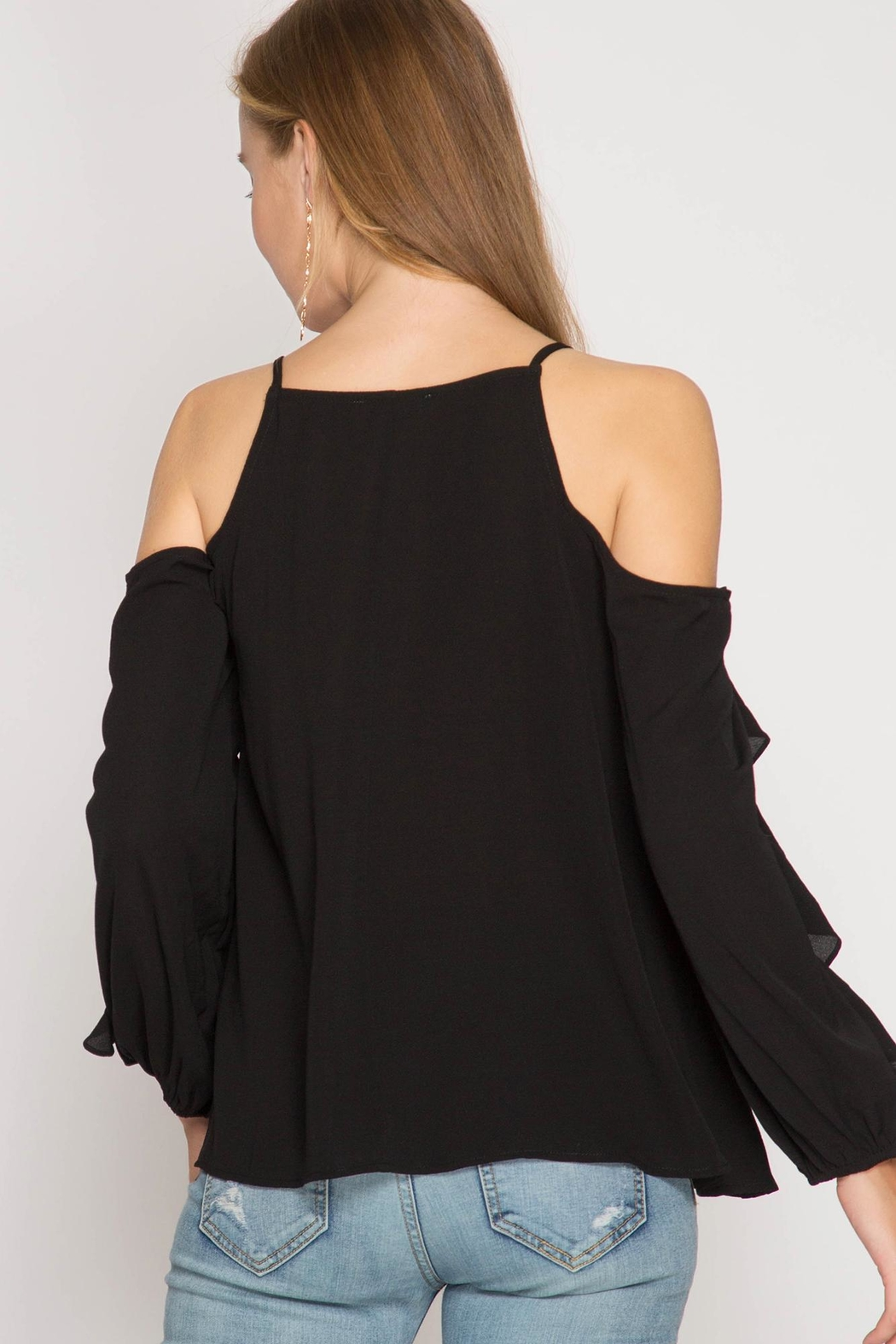 She + Sky Ruffle Cold-Shoulder Top - Main Image