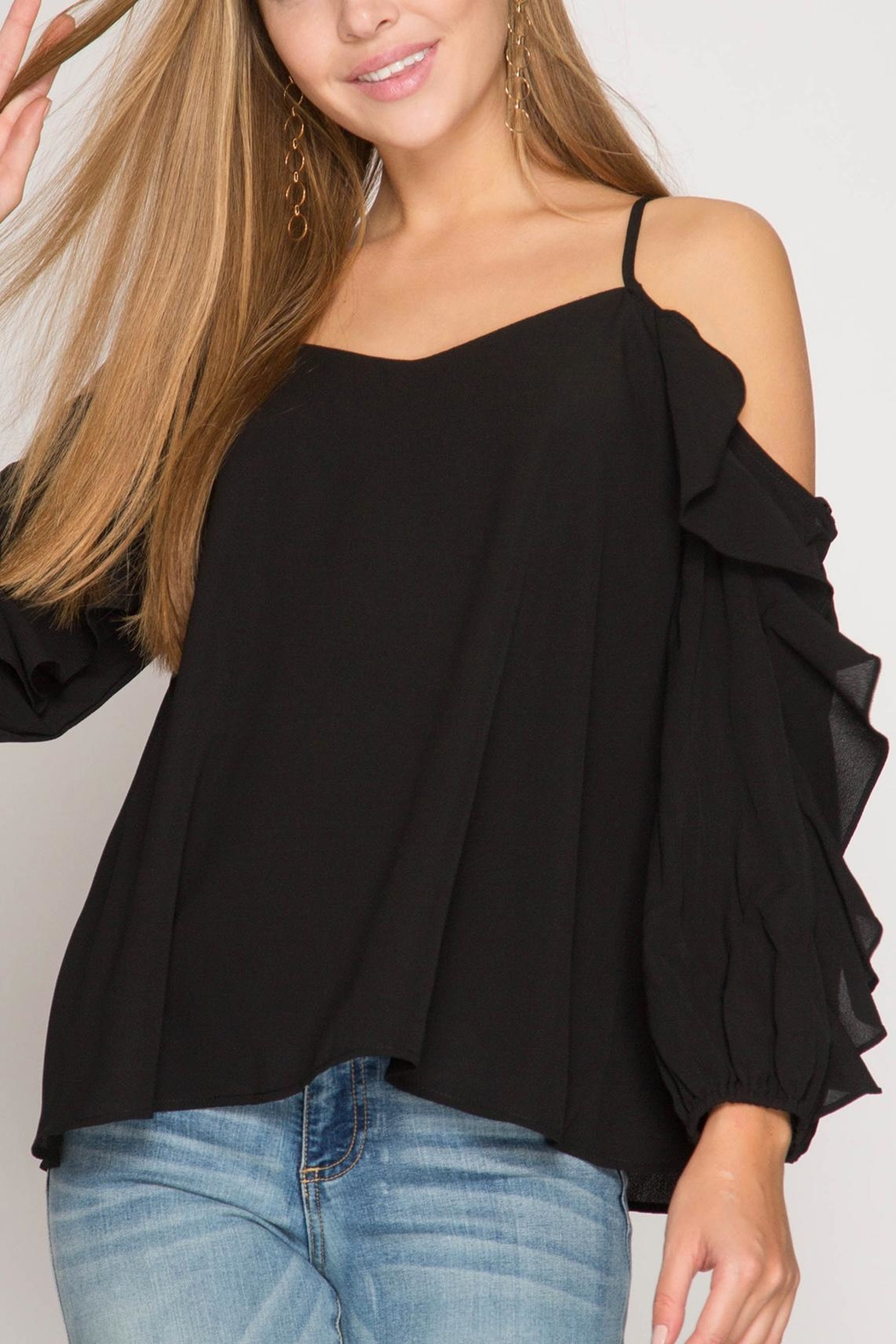 She + Sky Ruffle Cold-Shoulder Top - Front Cropped Image