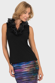 Joseph Ribkoff  Ruffle Collar Top, Black - Product Mini Image