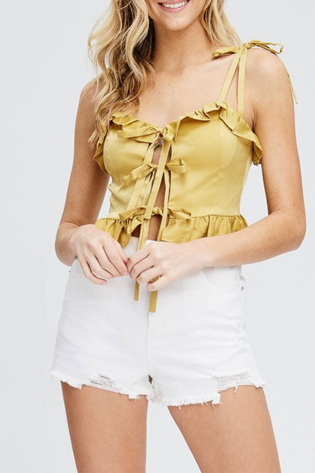 Emory Park Ruffle Crop Top - Front Cropped Image