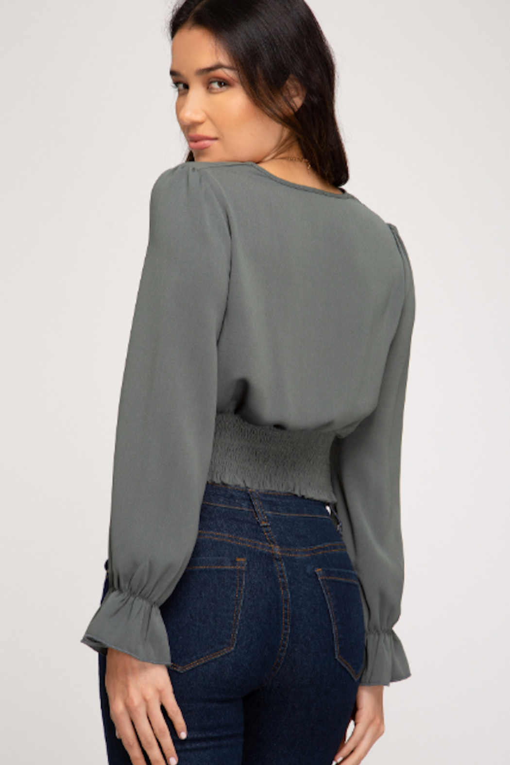 She and Sky Ruffle Cuff Crop Top - Front Full Image
