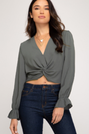 She and Sky Ruffle Cuff Crop Top - Product Mini Image
