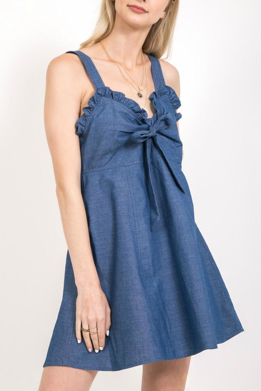 Very J Ruffle Denim Dress - Front Cropped Image