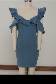 A. Calin Ruffle Denim Dress - Product Mini Image