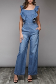 Pretty Little Things Ruffle Denim Jumpsuit - Product Mini Image