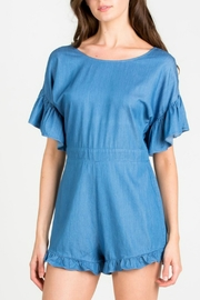 lunik Ruffle Denim Romper - Product Mini Image