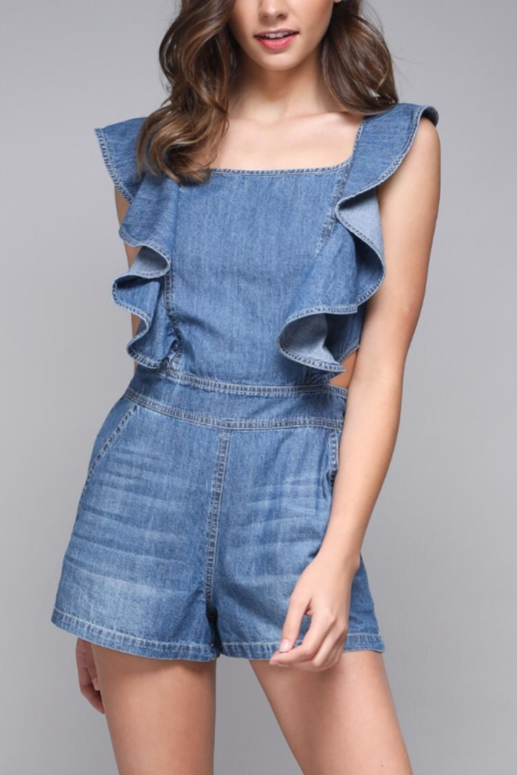 Do & Be Ruffle Detail Romper - Front Cropped Image