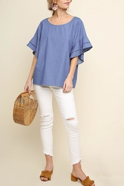 Umgee USA Ruffle Denim Top - Product Mini Image