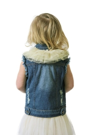 sassy Bling Ruffle Denim Vest - Front full body